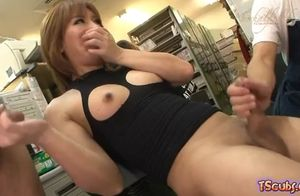 Asia tgirl in the office