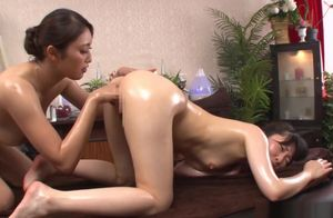Alluring Japanese lezzies get weird in..