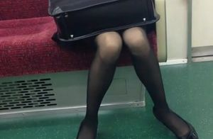 Thin Chinese OL in Ebony Stocking