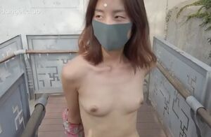 Asian gal walk naked aged monument..
